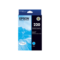 Genuine Epson 220 Cyan Ink Cartridge Page Yield: 165 pages