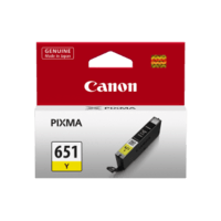 Genuine Canon CLI-651 Yellow Ink Cartridge. Page Yield 344 A4 pages (ISO/IEC 24711)