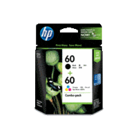 Genuine HP No 60 Combo-pack Black/Tri-color Ink Cartridges CN067AA.  Page Yield: 200 pages BK & 165pages Colour